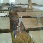 Trenches with pipes and wires